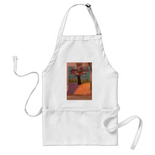 happy painted tree aprons