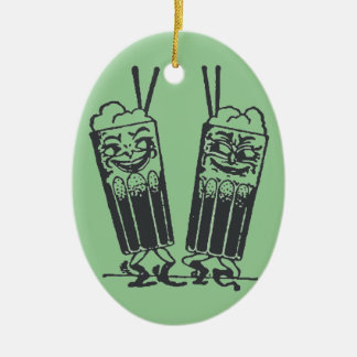 Happy Pair of Sodas Double-Sided Oval Ceramic Christmas Ornament