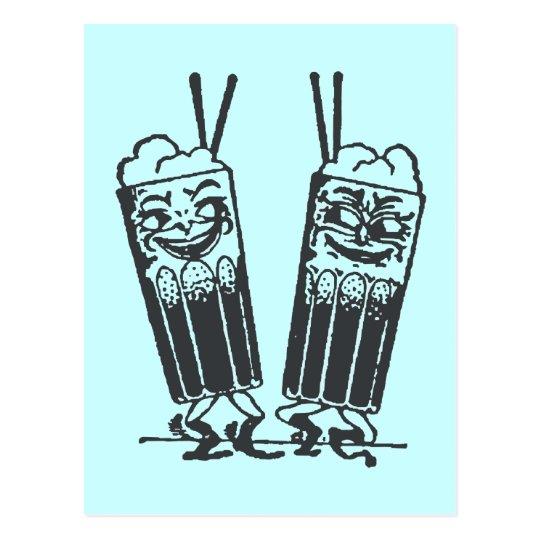 Happy Pair of Sodas Postcard