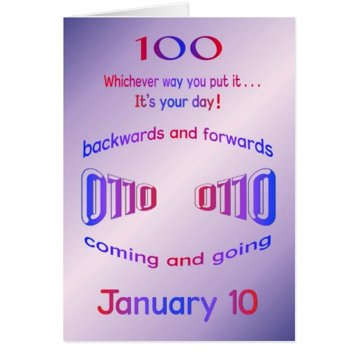 Happy Palindrome Birthday 100 years old on 01/10 Card