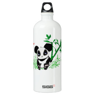Happy Panda Bamboo Aluminum Water Bottle