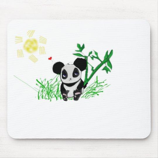 Happy Panda Bamboo Mouse Pad