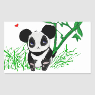 Happy Panda Bamboo Rectangular Sticker