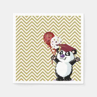 Happy Panda Bear Graduate Gold Chevrons Paper Napkin