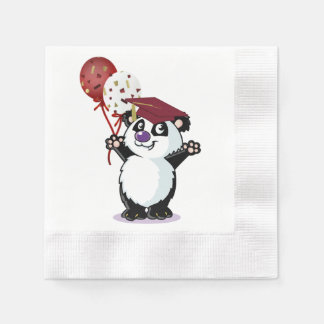 Happy Panda Bear Graduate Paper Napkin