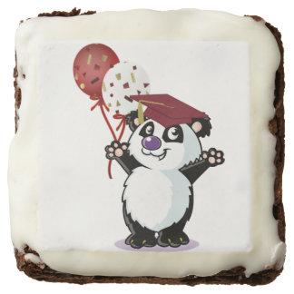 Happy Panda Bear Graduate Square Brownie