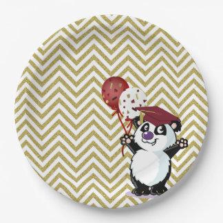 Happy Panda Bear GraduateGold Chevrons Paper Plate