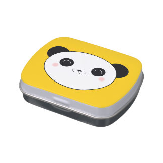 Happy Panda Face Candy Tins
