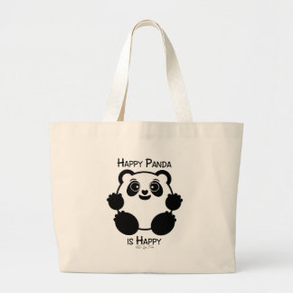 Happy Panda Large Tote Bag