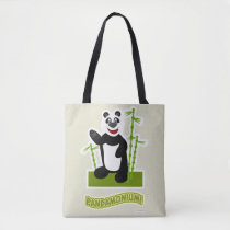 Happy  Panda-monium Panda Bear Cartoon Tote Bag