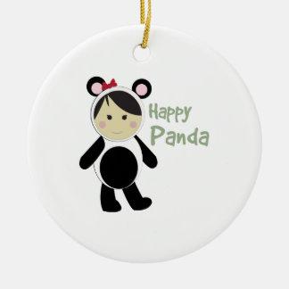 Happy Panda Double-Sided Ceramic Round Christmas Ornament