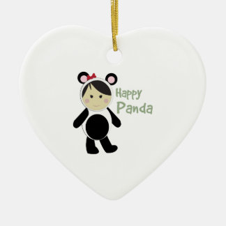 Happy Panda Double-Sided Heart Ceramic Christmas Ornament