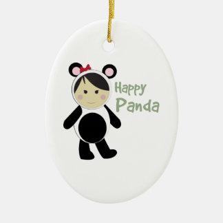 Happy Panda Double-Sided Oval Ceramic Christmas Ornament