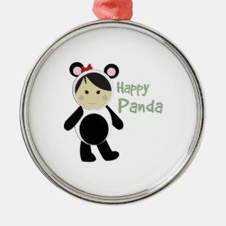 Happy Panda Round Metal Christmas Ornament