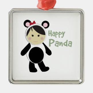 Happy Panda Square Metal Christmas Ornament
