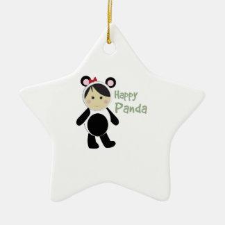 Happy Panda Double-Sided Star Ceramic Christmas Ornament