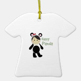Happy Panda Double-Sided T-Shirt Ceramic Christmas Ornament