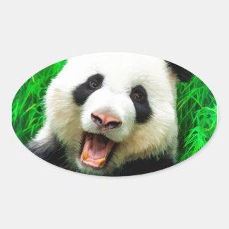 Happy Panda Oval Sticker