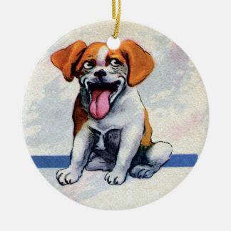 Happy Panting Beagle Dog Ceramic Ornament