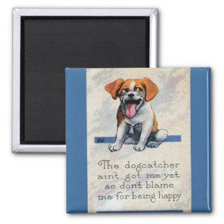 Happy Panting Dog Showing Tongue Magnets