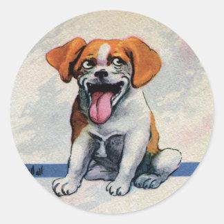 Happy Panting Dog Showing Tongue Sticker