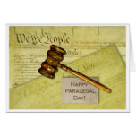 Happy Paralegal Day, Documents and Gavel Greeting Card