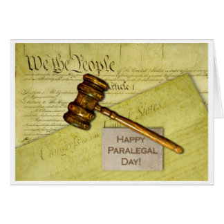 Happy Paralegal Day, Documents and Gavel Cards