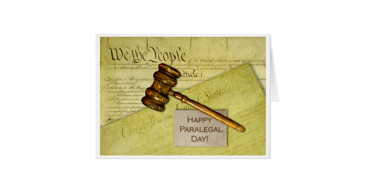 Happy Paralegal Day, Documents and Gavel Card   Zazzle.com
