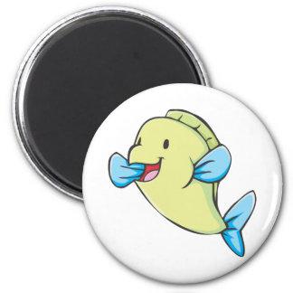 Happy Parrot Fish Cartoon 2 Inch Round Magnet