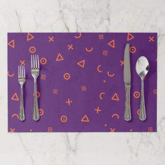 Happy Particles Purple Paper Placemat