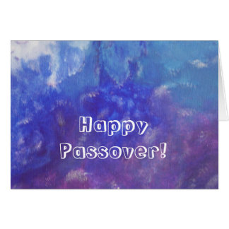 Happy Passover Blue Purple Abstract Painting Card