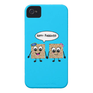 Happy Passover Cute Matzot - blue iPhone 4 Covers