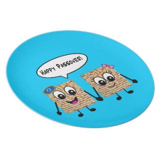 Happy Passover Cute Matzot Kids Plate - blue