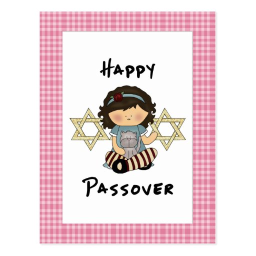 Happy Passover Girl Postcard
