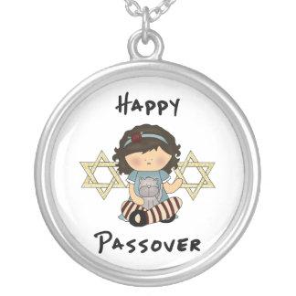 Happy Passover Girl Round Pendant Necklace