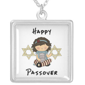 Happy Passover Girl Square Pendant Necklace