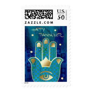 Happy Passover. Hamsa Lucky Symbol Postage Stamps