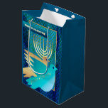 """Happy Passover. Menorah and Peace Dove Gift Bags<br><div class=""""desc"""">Happy Passover / Shalom at Pesach. Menorah and Peace Dove design Passover Gift Bags. Matching cards,  postage stamps and other products available in the Jewish Holidays / Passover Category of our store.</div>"""