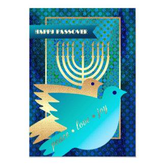 Happy Passover. Peace Dove and Menorah Cards