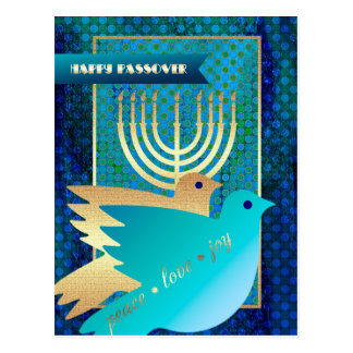 Happy Passover. Peace Dove and Menorah Postcards