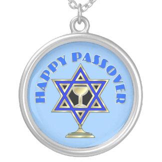 Happy Passover Round Pendant Necklace