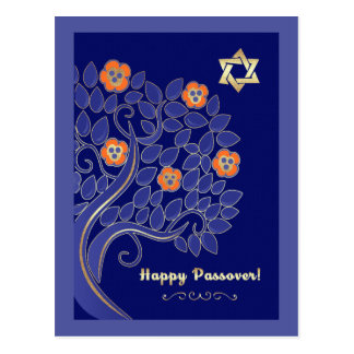 Happy Passover. Spring Flowering Tree Postcards