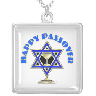 Happy Passover Square Pendant Necklace