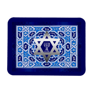 Happy Passover. Star of David and Kiddush Cup Rectangular Photo Magnet