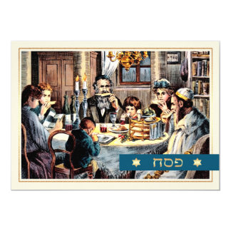 Happy Passover.Vintage Seder Scene Cards in Hebrew