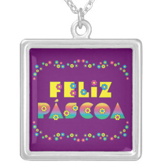 Happy Passover with Flores Square Pendant Necklace