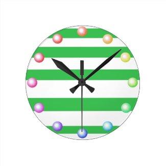 Happy Pastel Colors Striped Chic Summer Decor Round Clock