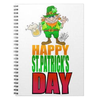 Happy Pat, Cartoon Leprechaun waving. Notebook