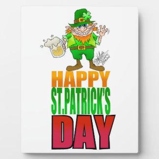 Happy Pat, Cartoon Leprechaun waving. Plaque