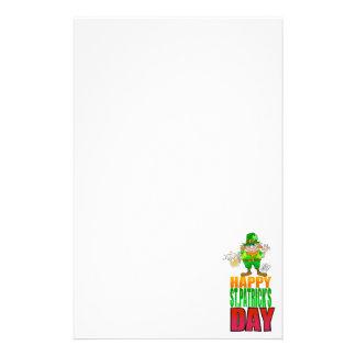 Happy Pat, Cartoon Leprechaun waving. Stationery